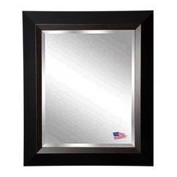 Rayne Mirrors - American Made Brown Linning Beveled Wall Mirror, Black with Brown Grain Liner, 3 - This fabulous natural grain wood and clean black design will add personality and dimension to any room. Offer a stylish upgrade to your wall space with this stunning wall mirror.  Rayne's American Made standard of quality includes; metal reinforced frame corner  support, both vertical and horizontal hanging hardware installed and a manufacturers warranty.