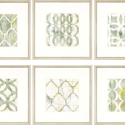 Paragon Decor - Metric Link Set of 6 Artwork - Green and white geometrics are highlighted with white matting and small silver wood frame.