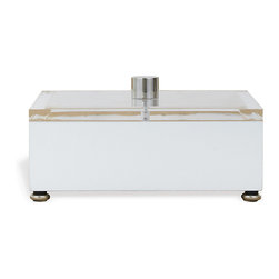 Port 68 - Avalon Box, White - Featuring a lucite top, nickel finial and zebra wood veneer finish inside, the Avalon Box makes a chic addition to a desk or coffee table. Perfect for storing office supplies, keys, stationery or remote controls, this white box is bright enough to remain eye-catching and sleek enough to complement a variety of different decor.