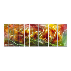 Pure Art - Audacious Spring Metal Wall Art Set of 9 - An oversize wall art comprised of nine panels, this metal art features intertwining stems, leaves and petals of a cluster of tulips as they are lifted, swayed and caressed by a dancing spring breeze. The use of verdant greens, deep pinks and sunshine yellow illustrate the exuberance and fleeting character of an early spring day and life itself.Made with top grade aluminum material and handcrafted with the use of special colors, it is a very appealing piece that sticks out with its genuine glow. Easy to hang and clean.