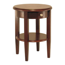 Winsome Wood - Winsome Wood Concord Round End Table with Antique Walnut Finish X-71249 - Beautiful walnut finish round end table with tapered legs.  Drawer has satin nickel knob, shelf for storing d&#233:cor.  Match with End Table#94217, Side Table # 94220, Half Moon Hall Table with shelf#94039 or # Half Moon Table# 94132 collection.