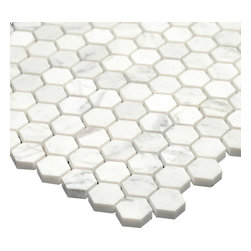 All Marble Tiles - Bianco Carrara 1 inch Polished Marble Honey Comb Mosaic Tile - The Bianco Carrara collection or white Carrara Collection allows you to play with colors for your interior. Besides getting a lovely option of pure white on tile, this collection also features a white grey hue to try. With these two colors you can create a modern or classic looking theme in your home according to preference.