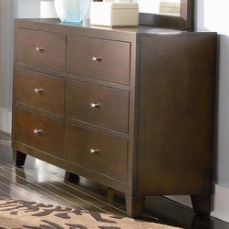 "Wildon Home � - Kingman 6 Drawer Dresser - Features: -Set includes dresser and mirror. -Contemporary style. -Deep brown finish bathes each piece. -Smooth, unadorned surfaces in keeping with contemporary style. Specifications: -Dresser: 35"" H x 58"" W x 16"" D. -Mirror: 40"" H x 40"" D."