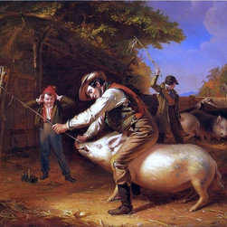 """William Sidney Mount Ringing the Pig Print - 16"""" x 20"""" William Sidney Mount Ringing the Pig (also known as Scene in a Long Island Farm-Yard) premium archival print reproduced to meet museum quality standards. Our museum quality archival prints are produced using high-precision print technology for a more accurate reproduction printed on high quality, heavyweight matte presentation paper with fade-resistant, archival inks. Our progressive business model allows us to offer works of art to you at the best wholesale pricing, significantly less than art gallery prices, affordable to all. This line of artwork is produced with extra white border space (if you choose to have it framed, for your framer to work with to frame properly or utilize a larger mat and/or frame).  We present a comprehensive collection of exceptional art reproductions byWilliam Sidney Mount."""