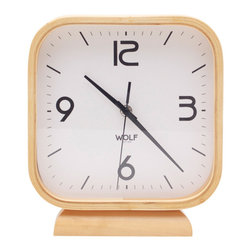"WOLF - 8.5"" Square Mantel Clock, White - Simplicity and minimalism characterize this square, wood-framed mantel clock. This stark, contemporary design features an 8.5"" white dial contrasted with black hands and sans-serif numbering for easy readability."