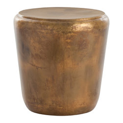 Kathy Kuo Home - Santiago Modern Burnished Brass Drum Side End Table - There are end tables and there are statements.  This piece is the latter. Crafted from burnished brass, the beauty of the metal is the star.  Understated and earthy, this piece would be right at home in rustic, contemporary and even industrial spaces.