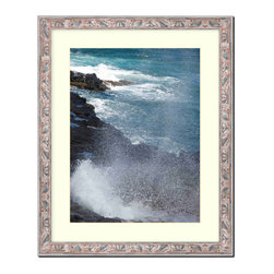 """Frames By Mail - Wall Picture Frame Terracotta with Silver highlights - acidfree white matte, 20x - This 20X24 terracotta with silver highlights picture frame is imported from Italy.  The width of the frame is 1.25"""" wide and has a black outer edge. The white matte can be removed to accommodate a larger picture.  The frame includes regular plexi-glass (.098 thickness) foam core backing and can hang either horizontal or vertical."""