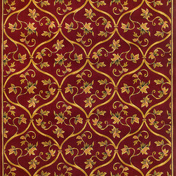 "Corinthian 5336 Red  Vine Brocade Rug - Corinthian 5336 Red Vine Brocade 20"" x 31"". Machine-Made of 100% Heat-set Polypropelene with Hand-Carved Patterns with No Backing. Made in China. Vacuum regularly & spot clean stains. Professional cleaning recommended periodically."