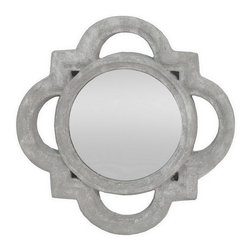 Home Decorators Collection - Nanette Mirror - Our Nanette Mirror's terra cotta frame is finished in cement white. This wall mirror boasts an elegant quatrefoil shape with an inner circle. Place this wall hanging above a settee or above a pedestal sink for a touch of vintage style. Made of terra cotta. Sawtooth on back for hanging.