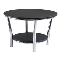 """Winsome Wood - Winsome Wood Maya Round Coffee Table with Black / Metal Finish X-03239 - Maya Table Collection offers the ultimate in contemporary d&#233:cor.  Round Coffee Table 29"""", A large round top and a shelf 19.60"""" Diameter  below offer function and style.  This accent table features a polished steel frame with MDF top and shelf.  12"""" Clearance from top to shelf. Ready to assemble."""