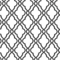 York - Hampton Trellis Wallpaper - Black and White Hampton Trellis Wallpaper, Pattern #WA7716