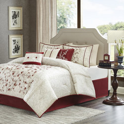 Madison Park - Madison Park Blossom 7 Piece Comforter Set - For a simple yet elegant update to your space, the Madison Park Blossom Comforter Set is perfect for you. Printed onto polyester polyoni, the cherry blossom branches provide a backdrop while deep red embroidery brings the cherry blossoms to life on the top of bed in an off-center placement. Three decorative pillows pull this look together with the use of embroidery and piecing. Comforter & Sham: 100% polyester polyoni with embroidery, 100% polyester brushed fabric reverse, 270g/m2 poly fill Bedskirt: 100% polyoni drop, 100% polyester platform 3 Pillows: 100% poly shell, poly fill