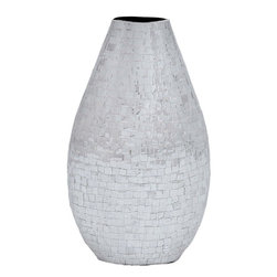 """Benzara - Mirror Vase Tapering Design For Unique Urbane Appeal - Adorn your living space with the verve and finesse of this Metal Mirror Vase and watch your settings transform with style. This elegant vase has contoured accents with a tapering design for a unique, urbane appeal. Mirror detailing in a simple checkered pattern lends a classic, sophisticated touch and enhances the visual appeal of this home furnishing piece. The elegant vase is made from high quality metal and offers lasting, trouble-free usage. Opulent yet elegant, this beautiful vase can be easily incorporated with modern and casual decor setups for a dazzling appeal. Durably made from premium grade aluminum, this elegant stool boasts of unmatched durability and offers lasting, hassle-free usage. The versatile appeal and charming design makes this vase a perfect gift for loved ones during celebrations and festivities.; Has contoured accent with a tapering design; Mirror detailing in a simple checkered pattern; Incorporated with modern and casual decor; Versatile appeal and charming design; Weight: 3.5 lbs; Dimensions:10""""W x 4""""D x 15""""H"""
