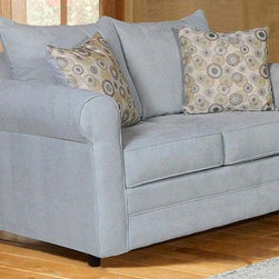 Chelsea Home - Loveseat with Toss Pillows - Contemporary style. Loveseat with blitz capri cover. Pillows with nightlife spring cover. 100 % poly fabric. Solid kiln dried hardwoods frame. Reinforced stress points with blocks to secure a long lasting frame. Medium seating comfort. Reinforced 16-gauge border wired sinuous springing system to maintain a uniform seating. Double springs used on the ends nearest the arms to give balance in the seating. Cushion made from hi-density foam cores with zippers. Made in USA. No assembly required. 60 in. L x 36 in. W x 38 in. H (115 lbs.)
