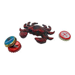 EttansPalace - Deep Sea Red Crab Cast Iron Bottle Opener: Set of Two - Get hold of your favorite beverage with an antique replica boasting pinchers poised to pop your tops! Hand-crafted exclusively for using the time-honored sand cast method, this antique replica cast iron bottle opener, freestanding Deep sea crab figurine is hand-painted to capture vintage details from crab claws to top-side eyes.