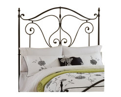 Hillsdale - Hillsdale Caffrey Headboard with Rails in Dusty Bronze Finish-Full - Queen - Hillsdale - Headboards - 1013HFQR - Elegantly romantic and reminiscent of the antique wrought iron classics the Caffrey Bed is stylish without becoming overwhelming. The Caffreys dusty bronze finish accents the arching linear design that whimsically adorns both the headboard and footboard. The Caffrey is available in queen and king size or just as a headboard. Some assembly required.