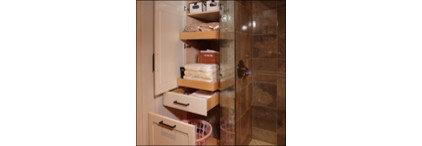 Modern Bathroom Storage by Custom Slideout Shelves