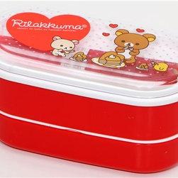 red Rilakkuma bear Bento Box with heart pancakes - Rilakkuma Bento Box Pancakes