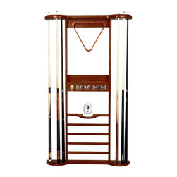"""Imperial - Solid Wood 8 Place Pool Cue Rack - Every game room with a billiards table needs a pool cue rack. The Solid Wood 8 Place Pool Cue Rack is just the ticket to storing your pool accessories with style. Available in four classic finishes, the Solid Wood 8 Place Pool Cue Rack is sure to find its place in your game room. Specifications: -Finish Options: Honey,Antique Walnut, Black, or Mahogany -Eight place pool cue rack -Counter, cone rack, and ball storage -Dimensions: 57"""" H x 34"""" W"""