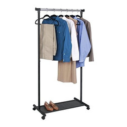 Richards Homewares - Garment Rack Black with Grey Fabric-Shelf - Smooth glide casters. Easy to assemble. Chrome and Black finish. Bars underneath make a great shelf for boxes or totes