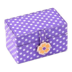 Wolf Designs - Mini Jewelry Case - Purple - Add functional style to your little girl's collection with our Mini Jewelry Case, it is a set of portable, single-compartment containers for children�s small treasures. Each of the cases has a slightly different size, shape, color and pattern. This Mini features a light purple cloth exterior with white polka dots, and an orange embroidered flower snap closure. For contrast, the interior is lined with a orange and white gingham pattern.