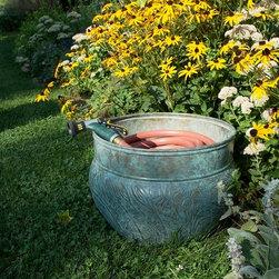 Good Directions - Good Directions Key West Steel Garden Hose Pot, Blue-Verde (GD-457) - Good Directions Key West Steel Garden Hose Pot, Blue-Verde