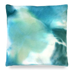 "Kerry Pillow - Turquoise - 24"" - Subtle swirls of green, white and blue dance delightfully upon the fabric of the Kerry Pillow. These soft hues might perfectly accent a stark white sofa or occasional chair or perhaps, a few placed atop a gorgeous white duvet in a master bedroom might suit your decor better. Wherever you decide to place the pillow it is sure to bring a feeling of calm into your decor space with its stunning color palette."