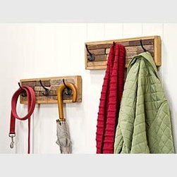 Reclaimed Wood Coat Hook Rack - I like the use of reclaimed wood as a background for this coat hanger. Several on a wall would be functional and really finish off a mudroom.
