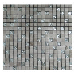 """GL Stone - Wooden Grey Square Pattern with Silver Background Glass Mosaic Tile 12""""X12"""" - 1 in. x 1 in. Square Pattern Wooden Grey Polished marble & Silver Background Glass Mosaic Tiles is a great way to enhance your interior decor. This Mosaic Tile is constructed from durable, impervious Marble & Glass material and is suitable for installation on floors, walls and backsplash in commercial and residential spaces such as bathrooms, kitchens and shower wall."""