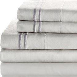 Melange Home - 600 Thread Count 100% Egyptian Cotton 2 Bonder Sheet Set, Sliver on Sliver, King - Features: