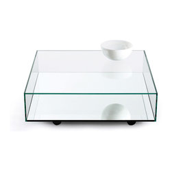 Bensen - Reflect Coffee Table - A thin mirrored bottom panel is UV glued to the inside bottom of a clear glass box. Two sides of the box are open allowing objects to be placed on top of the mirrored surface for storage or display. The wide top surface is strong enough to support heavy objects.