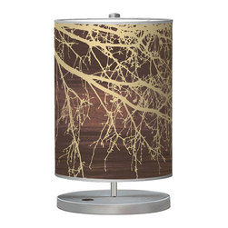 jefdesigns - Branch 1 Cylinder Table Lamp - If your style is cool and contemporary, this is the table lamp for you. Designed by Joe Futschik, its cylindrical linen shade boasts an organic branch design in gold and brown on a trim metal base. A stunner for your nightstand or dresser.