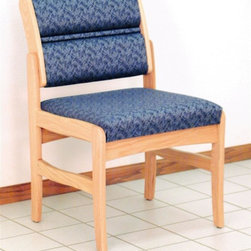 Wooden Mallet - Armless Chair w Solid Oak Frame (Blue Arch) - Fabric: Blue ArchPictured in Blue Leaf fabric. Tasteful contemporary styling coordinates with any décor. Built with a 1 in. thick solid Oak frame. Extra thick seat and back cushions for comfort and durability. Made in the USA. Assembly is a breeze with our unique slide brackets, no tools required. Complies with California TB 117 fire code. 1-Year limited warranty. Seat: 16.5 in. D x 19.5 in. W x 14.5 in. H. Weight capacity: 400 lbs.. Total height: 19 in.Wooden Mallet's Dakota Wave Valley series Standard Leg Armless Chair is for those who desire a more traditional, elegant look. We've combined handsome solid Oak with deep, plush upholstery, to create office furniture that presents a warm welcome to your clients and guests. Choose from a variety of wood colors and upholstery options to compliment your décor or contact us to learn about supplying your own fabric for a custom chair. Choose this chair as part of our complete Dakota Wave collection of coordinating lobby essentials.