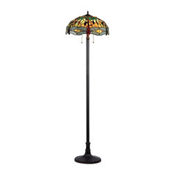 None - Tiffany Style Dragonfly Design 2-light Floor Lamp - This Tiffany style Dragonfly design 2-light Floor Lamp will add color and warmth to any room. Handcrafted from over 275 hand cut pieces of art glass with main colors that include shades of beige,aqua and white.