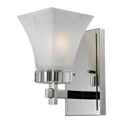 One Light White Swirl Glass Polished Nickel Bathroom Sconce - This wall sconce stands out with its beautiful crystal accent and polished nickel frame.  The white watermark glass shade gives it a unique and clean look.