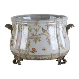 Oriental Danny - Hand painted porcelain planter - This beautiful hand painted porcelain planter has bird and garden design. Elegant scroll bronze handles for decorative and easy to carry. Accent with bronze feet. Great for plants.