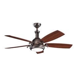 "DECORATIVE FANS - DECORATIVE FANS Saint Andrews 52"" Contemporary Ceiling Fan X-BBO531003 - The warm finishes of this Kichler Lighting ceiling fan give it an elegant but masculine look. From the Saint Andrews Collection, it blends an Oil Brushed Bronze hue with a crisp etched cased opal glass shade and reversible cherry/walnut fan blades."