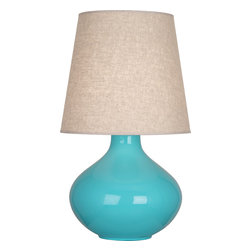 Robert Abbey - June Table Lamp,Egg Blue - This shapely little lamp is pretty as a peach. Add a pop of color and light to your side table or nightstand with this must-have, versatile lamp. You can even get a few, and mix and match the colors!