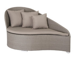 """Eurostyle - Lavinia Lounge Chair-Taupe - Her curvaceous configuration, brushed taupe coloration, and cushioned ornamentation captivates the eye of any beholder. Basking in her basket woven, rattan exterior, a seat cushion and 5 pillows adorn her. Impervious to the elements with her water-resistance, she beckons you to lounge indoors or outdoors and sit in her lap of fully assembled luxury. Seat: 17.5""""height, 34.5""""depth."""