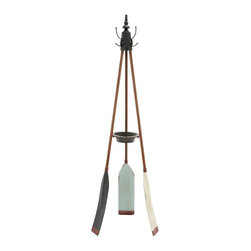 UMA Enterprises Inc. - Metal Oar Coat Rack - 69H in. Multicolor - 56042 - Shop for Coat Hooks and Racks from Hayneedle.com! The Metal Oar Coat Rack - 69H in. is a great addition to the space of any nautical enthusiast or just someone who loves the style of found-object carpentry. This durable and functional rack has a tripod-style design that comes from a trio of authentic wooden oars joined with a central finial at the top and a metal tray in the middle. The tray is a perfect space for unloading the loose change keys and receipts from your pockets. The top finial has a metal cover with a trio of hooks that make it perfect for coats and cold-weather accessories.About UMA You may not know the name but chances are you've seen a UMA product and said I should really find one those for my house. As one of the world's largest importers and wholesalers of home decor products UMA has been making homes more pleasant places to live for the last 30 years. The company strives to provide its customers with the best selection highest quality and lowest prices for tabletop accessories wall decor garden accessories and seasonal decor.