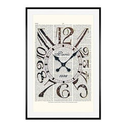"Zlatka Paneva Framed Print, Vintage Clock, Mat, 28 x 42"", Black - These vintage prints cover an eclectic range of subjects, from an old gramophone to a golden olive branch. They are endlessly fascinating to look at, as each one features layers of collage using old book pages as a canvas for full color, and black and white drawings and prints. 11"" wide x 13"" high 16"" wide x 20"" high 28"" wide x 42"" high Alder wood frame. Black or white painted finish; or espresso stained finish. Beveled white mat is archival quality and acid-free. Available with or without a mat."