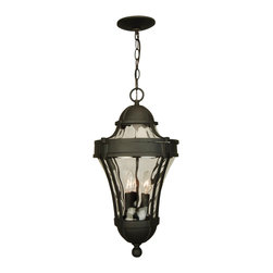 Exteriors - Exteriors Parish Traditional Outdoor Hanging Light X-50-1224Z - From the Parish Collection, this traditional Craftmade outdoor hanging light is ideal for those who desire an elegant, European-inspired design to compliment their outdoor security lighting. The clear hammered glass diffuser amplifies the light, sending it in all directions. The curvilinear frame is available in two finishes for added appeal.