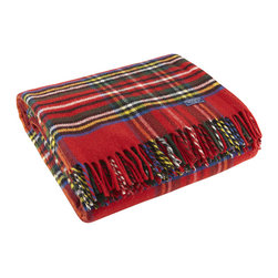 Faribault Woolen Mill - Royal Carefree Stewart Wool Throw - Red - The Stewart Plaid is a Faribault classic. Now offered in 100% Merino wool for a finer hand, the throw is as soft as its colors are vibrant. Displayed on the couch or kept in the car for summer picnics, this machine wash and dryable throw has endless possibilities. The design is simply timeless.