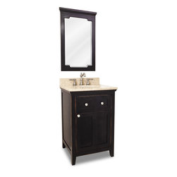 "Distressed Shaker Vanity Set - Dual Drawer (Black Distressed), Dual Drawer - This set consists of 24"" wide solid wood vanity with shaker doors, preassembled marble top, and matching beveled glass wood framed mirror. Vanity includes a top drawer and spacious cabinet with an adjustable shelf. Drawer features solid wood dovetailed box and soft-close slides and cabinet features soft-close hinges. Vanity comes preassembled with a 2.5cm Emperador Light marble top with 4"" tall backsplash, 15"" x 12"" bowl and cut for 8"" faucet spread."