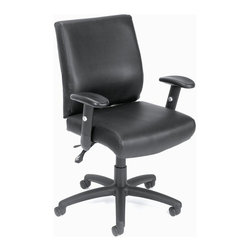 """BOSS Chair - Mid-Back Task Chair Upholstered In Black w Ar - Beautifully upholstered with our ultra soft and durable Caressoft upholstery. 3 paddle multi-function tilting mechanism which allows the seat and back to lock in any position throughout the tilt range. Adjustable height and width armrests with soft polyurethane pad. Hooded double wheel casters. Upright locking position. Ratchet height adjustment on back cushion. Large 27"""" nylon base for grater stability. Pneumatic gas lift seat height adjustment. Optional seat slider upgrade available(B700-SS). Matching guest chair (B709). Cushion color: Black. Base/wood: Black. Seat size: 20.5 in. W x 20 in. D. Seat height: 18.5 in. -22.5 in. H. Arm height: 25.5 in. -30.5 in. H. Overall dimension: 27.5 in. W x 27 in. D x 37.5-40.5 in. H. Weight capacity: 250 lbs"""