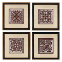 Paragon - Piazza Tile PK/4 - Framed Art - Each product is custom made upon order so there might be small variations from the picture displayed. No two pieces are exactly alike.