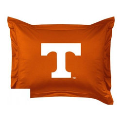 Sports Coverage - Tennessee Volunteers Locker Room Collection Pillow Sham - Show your team spirit with this officially licensed 25 x 31 Tennessee Volunteers sham. There is a 2 flanged edge that decorates all four sides of each Tennessee NCAA sham. Made of 100% polyester jersey mesh, just like the players wear, with screen printed Tennessee Volunteers logo in the center. Envelope closure in back. Fits standard pillow. Coordinates with Tennessee Locker Room Collection. 3 overlapping envelope closure is on back.
