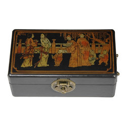 Oriental Furniture - Black Lacquer Rectangular Box - This rectangular Ming design keepsake box is finished in a medium gloss black lacquer and hand-painted ancient Asian figures and a floral motifs. Fitted with antiqued brass hands at each end and closed with a classic oriental medallion hasp and lock pin, it is the perfect place to store jewelry, watches, buttons or other small treasures.