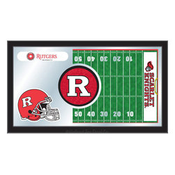 "Holland Bar Stool - Holland Bar Stool Rutgers Football Mirror - Rutgers Football Mirror belongs to College Collection by Holland Bar Stool The perfect way to show your school pride, our Football Mirror displays your school's symbols with a style that fits any setting.  With it's simple but elegant design, colors burst through the 1/8"" thick glass and are highlighted by the mirrored accents.  Framed with a black, 1 1/4 wrapped wood frame with saw tooth hangers, this 15""(H) x 26""(W) mirror is ideal for your office, garage, or any room of the house.  Whether purchasing as a gift for a recent grad, sports superfan, or for yourself, you can take satisfaction knowing you're buying a mirror that is proudly Made in the USA by Holland Bar Stool Company, Holland, MI.   Mirror (1)"