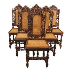EuroLux Home - 6 Consigned Antique Dining Chairs 1880 French - Product Details